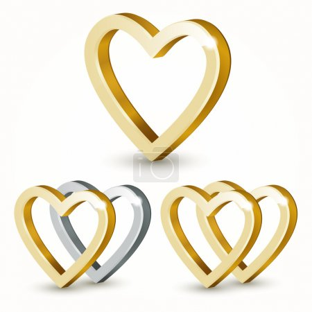 Vector golden hearts isolated on white background.