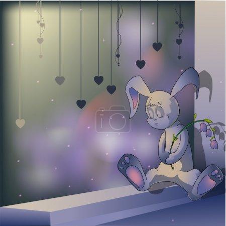 Illustration pour Triste lapin. Illustration vectorielle . - image libre de droit