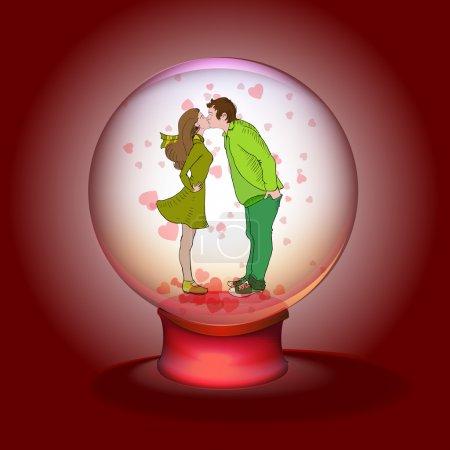 Kissing couple in magic ball. Vector illustration
