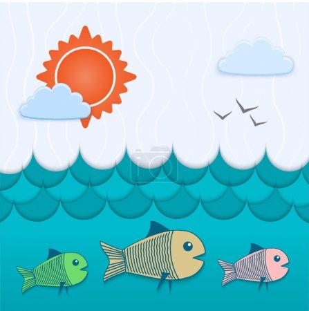 Illustration pour Vecteur fond sous-marin. Illustration vectorielle . - image libre de droit