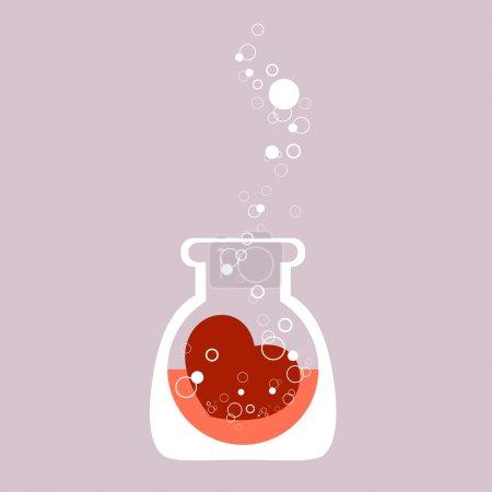 Tube à essai chimique avec c?ur. Illustration vectorielle .