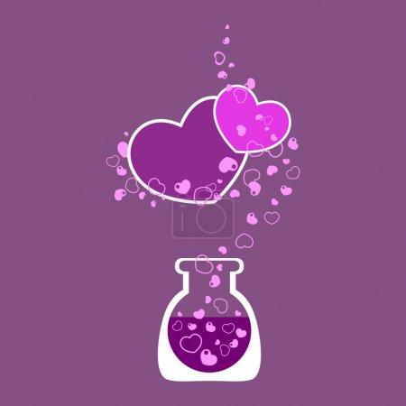 Photo pour Tube à essai chimique avec cœur. Illustration vectorielle . - image libre de droit