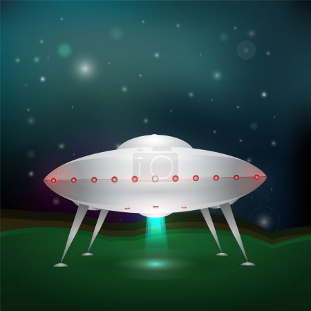 Unidentified flying object. Vector illustration.