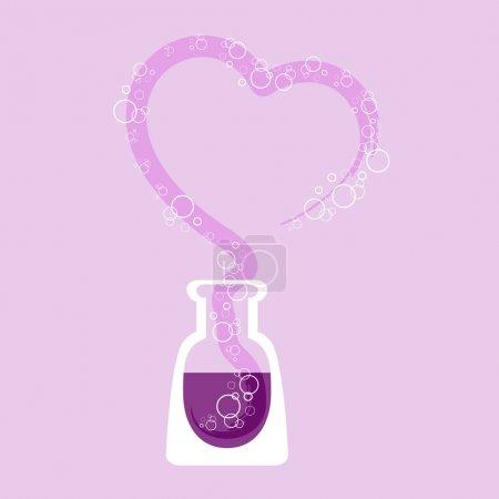 Foto de Tubo de ensayo químico con corazón. Ilustración vectorial . - Imagen libre de derechos