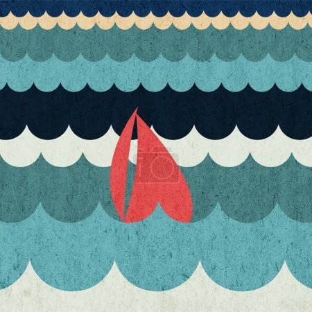 Sailing boat floating on water surface. Vector color illustration.