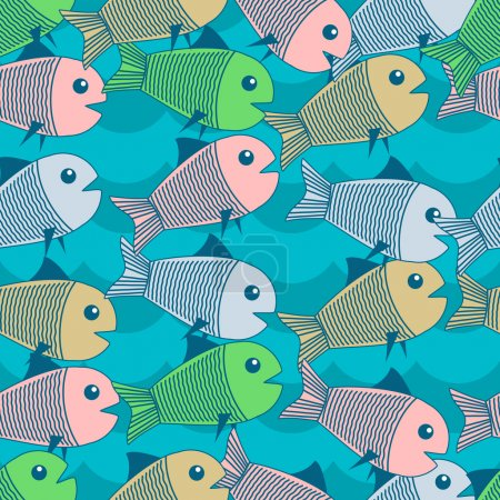 Vector background with fishes.