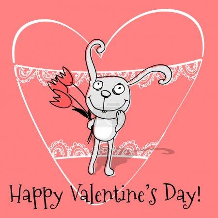 Illustration pour Carte de vœux vectorielle avec lapin pour la Saint Valentin . - image libre de droit