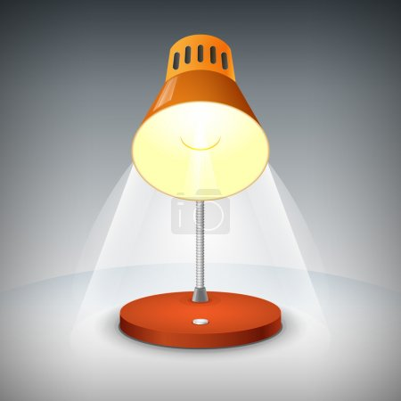 Vector illustration of a red table lamp.