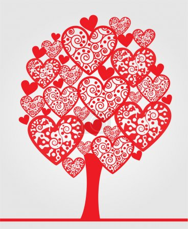 Illustration for Love tree made of hearts. - Royalty Free Image