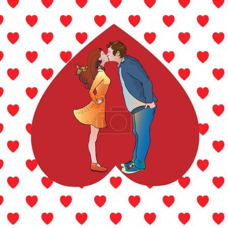 Illustration pour Embrasser couple dans le cœur. Illustration vectorielle - image libre de droit