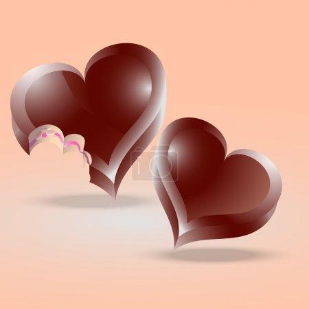 Illustration pour Gâteaux au chocolat en forme de coeur. Illustration vectorielle . - image libre de droit