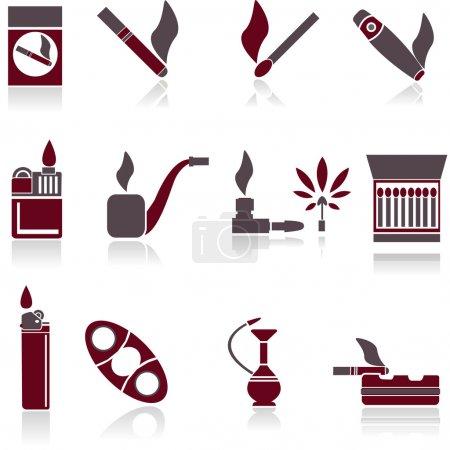 Raucher-Ikonen. Vektorillustration.