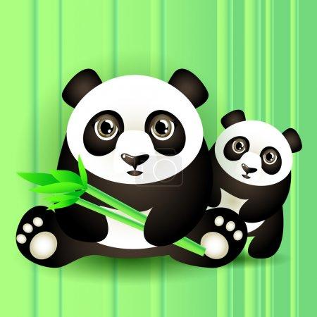 Illustration pour Deux charmants pandas. Illustration vectorielle . - image libre de droit