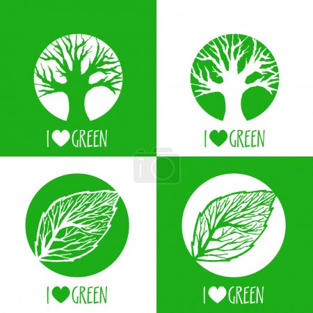 Photo for Vector ecology signs. I love green. - Royalty Free Image