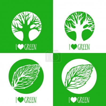 Photo pour Signes d'écologie vectorielle. J'aime le vert . - image libre de droit