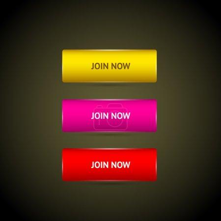 Illustration pour Rejoindre maintenant collection de boutons . - image libre de droit