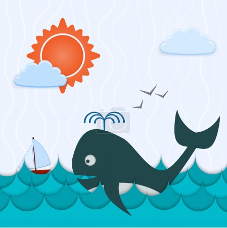 Vector background with whale and boat.