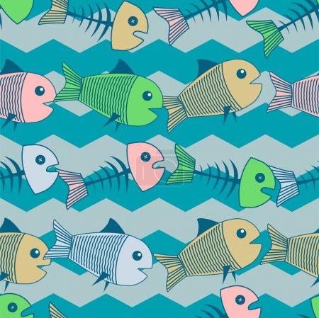 Illustration pour Fond vectoriel avec des poissons . - image libre de droit