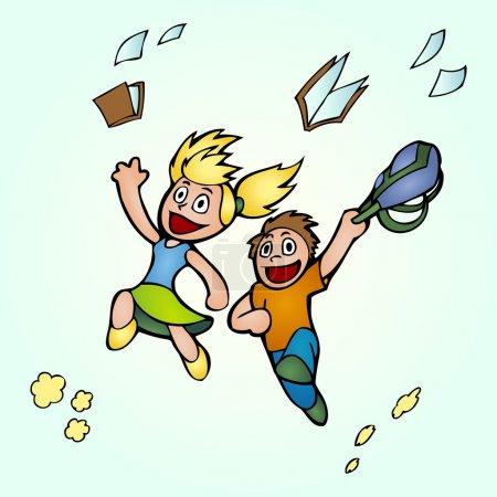 Illustration pour Des étudiants en dessin animé. illustration vectorielle . - image libre de droit