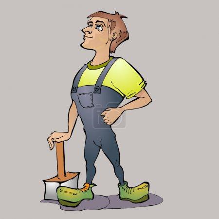 Cartoon worker. Vector illustration.