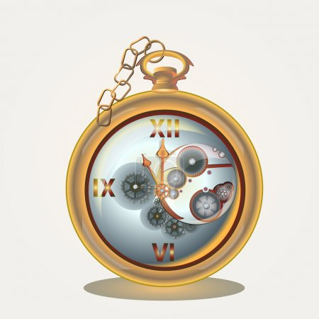 Old pocket watch on golden chain. Vector illustration.