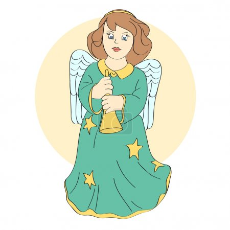 Vector cute angel. Vector illustration.