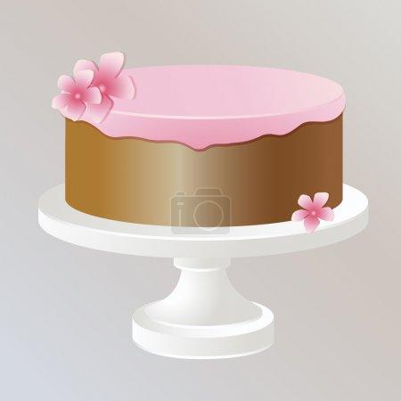Illustration pour Illustration de gâteau à la crème rose . - image libre de droit