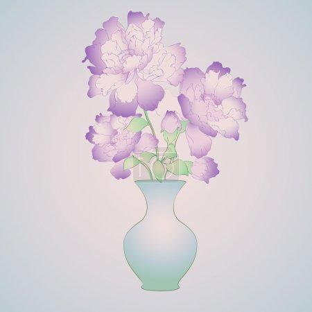 Illustration pour Fleurs violettes en vase. Illustration vectorielle . - image libre de droit