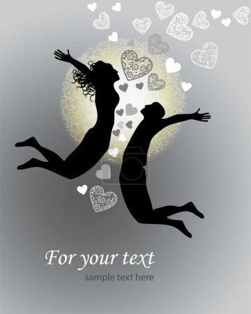 Illustration pour Fond vectoriel avec couple sautant . - image libre de droit