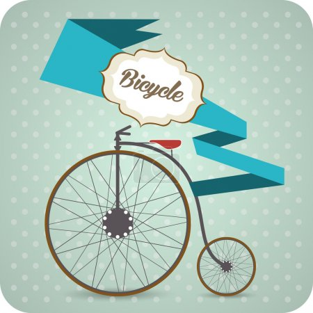 Vector background with old vintage bicycle.