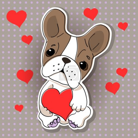 Lindo perro enamorado. Ilustración vectorial .
