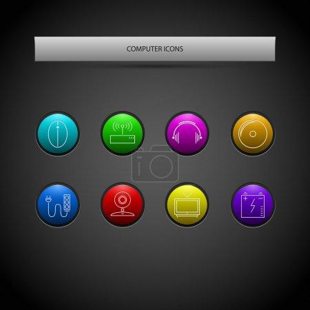 Illustration pour Jeu vectoriel d'icônes informatiques. - image libre de droit