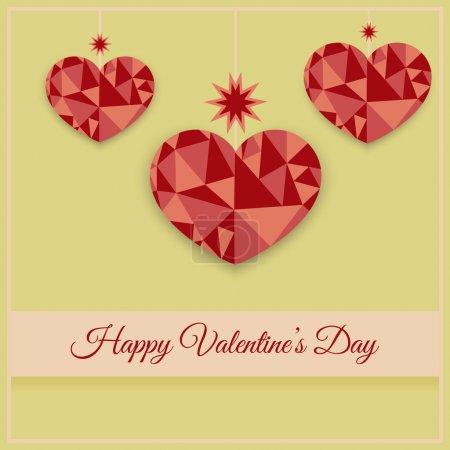 Vektor-Grußkarte mit Herzen zum Valentinstag.