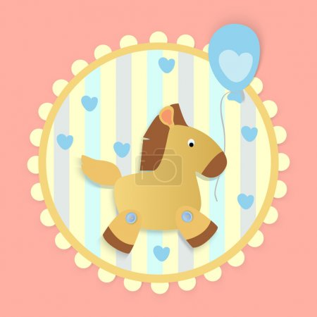 Vector greeting card with horse.