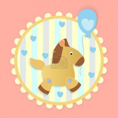 Illustration pour Carte de vœux vectorielle avec cheval . - image libre de droit