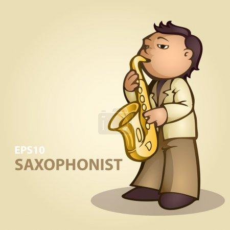 Illustration pour Saxophoniste de bande dessinée. Illustration vectorielle . - image libre de droit