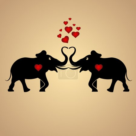 Vector background with elephants in love.