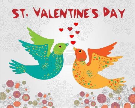 Illustration pour Fond vectoriel avec des oiseaux pour la Saint-Valentin . - image libre de droit
