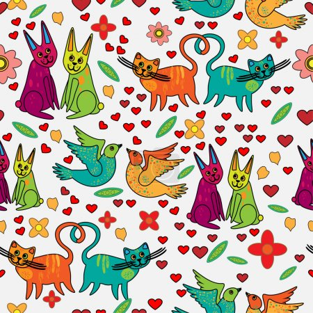 Vector background with animals in love.