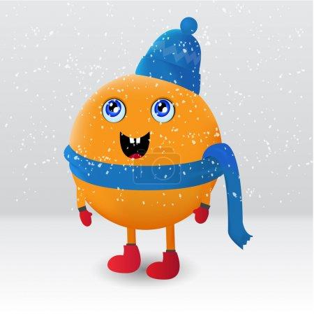 Illustration pour Mignon orange fruit personnage de dessin animé - image libre de droit
