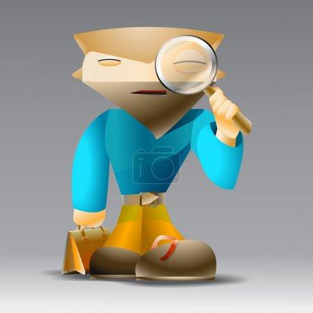Illustration pour Dessin animé homme avec loupe . - image libre de droit