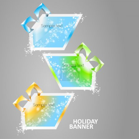 Bright multicolored glowing banners.