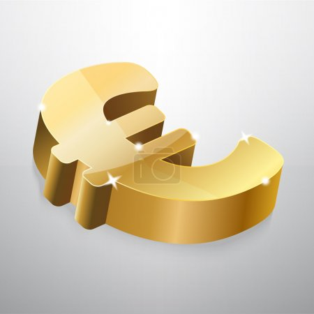 Golden euro sign. Vector illustration.