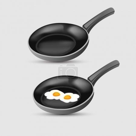 Illustration pour Œufs frits sur la poêle. Illustration vectorielle . - image libre de droit