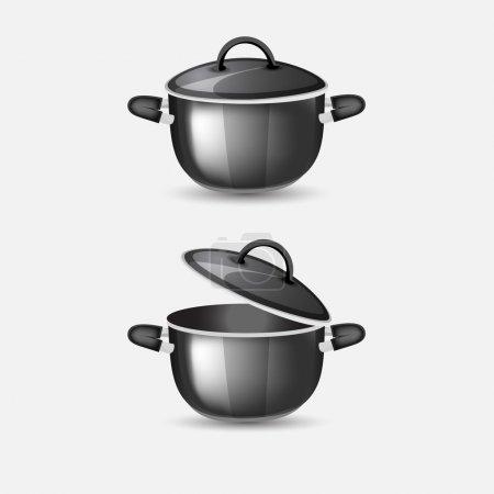 Illustration pour Illustration vectorielle des casseroles noires . - image libre de droit