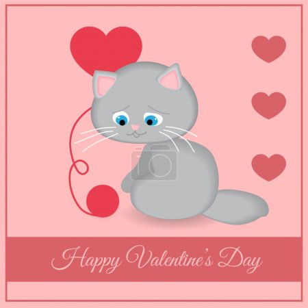Vector greeting card with cat for Valentine's day.