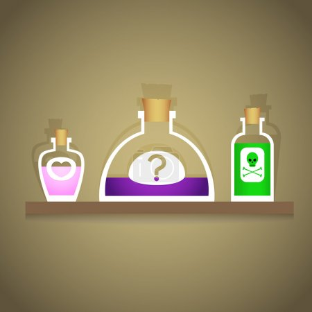Illustration for Vector illustration of bottles with various liquids. - Royalty Free Image