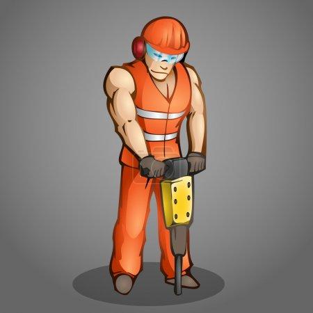 Vector illustration of a cartoon worker.