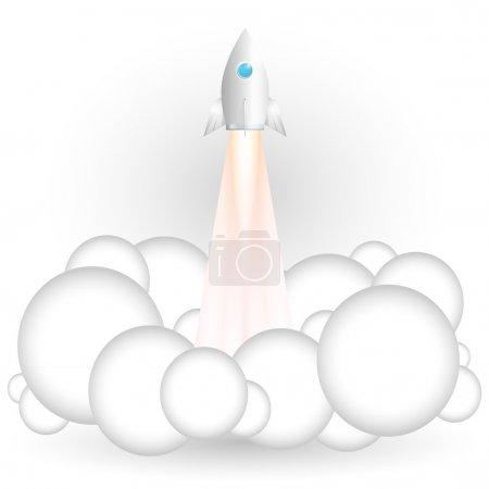 Vector illustration of flying rocket.