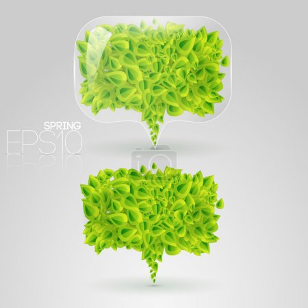 Photo for Speech bubble of green leaves. Vector illustration. - Royalty Free Image